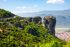 Aerial view of monastery at Meteora cliff and Kalambaka town, Greece Royalty Free Stock Images