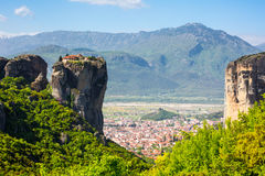 Aerial view of monastery at Meteora cliff and Kalambaka town, Greece Royalty Free Stock Photo