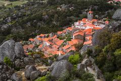 Aerial view on Monsanto village. Rocks, moss and doors of Monsanto village in Portugal Stock Images