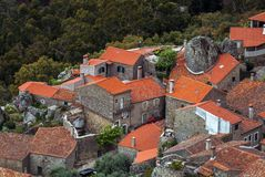 Aerial view on Monsanto village with stone in the house. Rocks, moss and doors of Monsanto village in Portugal Royalty Free Stock Images