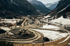 Aerial view of mont blanc roads Royalty Free Stock Photography