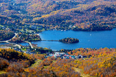 Aerial view Mont Tremblant lake and village. In autumn Stock Photos
