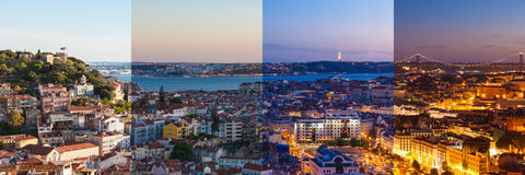 Aerial view montage of Lisbon rooftop from Senhora do Monte view. Point (Miradouro)  fromn day to night in Portugal Stock Images