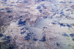 Aerial view of montana lake Stock Image