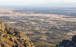 Aerial view of Montanchez Mountain Range from La Cogolla peak. Torre de Santa Maria and Valdefuentes town Stock Images