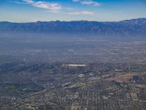 Aerial view of Monterey Park, Rosemead, view from window seat in. An airplane, California, U.S.A royalty free stock photo