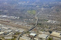 Aerial view of East Los Angeles, Bandini, view from window seat. Aerial view of Monterey Park, Rosemead, view from window seat in an airplane, California, U.S.A stock image