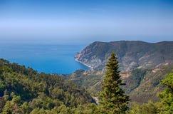 Monterosso al Mare in 5 terre, ligurian cost, mediterranean sea, La Spezia province, Italy. stock image