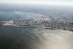 Aerial View of Montevideo from Window Plane Stock Images