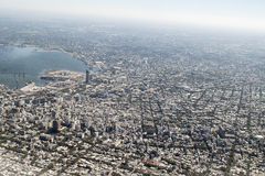 Aerial View of Montevideo from Window Plane Royalty Free Stock Image