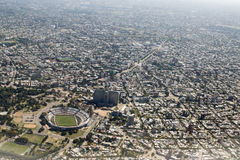 Aerial View of Montevideo from Window Plane Stock Photography