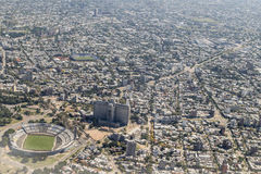 Aerial View of Montevideo from Window Plane Royalty Free Stock Photography