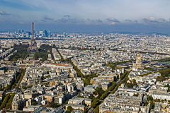 Aerial view, from Montparnasse tower, with Eiffel tower. And La Defense district in Paris, France Royalty Free Stock Images
