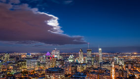 Aerial view of the Montreal skyline at night royalty free stock images