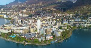 Aerial view of Montreux stock video footage