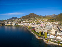 Aerial view of Montreux waterfront, Switzerland Royalty Free Stock Images