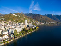 Aerial view of Montreux waterfront, Switzerland Stock Photography