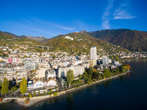 Aerial view of Montreux waterfront, Switzerland Royalty Free Stock Photography