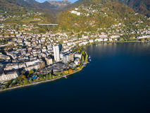 Aerial view of Montreux waterfront, Switzerland Stock Photo
