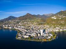 Aerial view of Montreux waterfront, Switzerland Stock Image