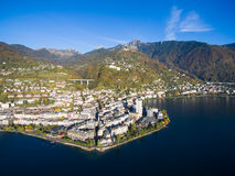 Aerial view of Montreux waterfront, Switzerland Stock Photos