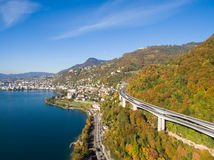 Aerial view of Montreux waterfront, Switzerland Stock Images