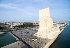 Aerial View of Monument to the Discoveries, Belem district, Lisbon, Portugal Royalty Free Stock Photos