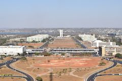 Aerial view of the Monumental axe of Brazilian capital Brasilia.  Stock Images