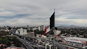 Monumental flag of San Jeronimo Lidice in the south of Mexico City.