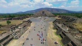 Aerial view of the Moon pyramid. In the ceremonial complex of Teotihuacan in Estado de Mexico, Mexico stock video footage