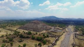 Aerial view of the Sun pyramid. Aerial view of the Moon pyramid in the ceremonial complex of Teotihuacan in Estado de Mexico, Mexico stock video footage