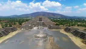 Aerial view of the Moon pyramid (TAKE 1). Aerial view of the Moon pyramid in the ceremonial complex of Teotihuacan in Estado de Mexico, Mexico. (TAKE 1 stock video