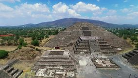 Aerial view of the Moon pyramid (TAKE 3). Aerial view of the Moon pyramid in the ceremonial complex of Teotihuacan in Estado de Mexico, Mexico. (TAKE 3 stock video