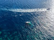 Aerial view of moored boats floating on a transparent sea. Corsica. France Stock Photography