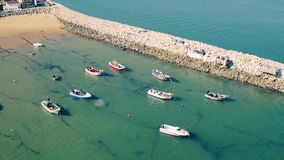Aerial View Moored Fishing Boats in Harbor stock video footage