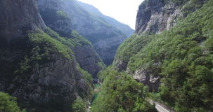 Aerial view of Moraca river canyon. stock footage