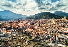 Aerial view of Moratalla town. Spain Royalty Free Stock Images