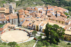 Aerial view of Morella, its walls & the bullring Stock Photos