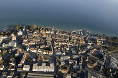 Aerial view of Morges, Switzerland. Aerial view of the old town of Morges (www.morges.ch), Switzerland, with Geneva Lake on the background and its medieval Stock Photo