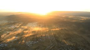 Aerial view of Morning Sunlight on city Royalty Free Stock Photo