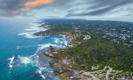Aerial view of Mornington Peninsula in the morning near Blairgow Stock Photo