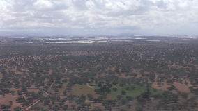 Aerial view of Moroccan agricultural landscape stock footage