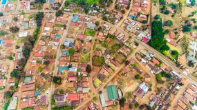 Aerial view of the Morogoro town. Tanzania royalty free stock photo