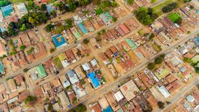 Aerial view of the Morogoro town. Tanzania stock photo