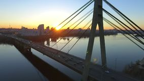 Aerial view of Moscow Bridge over Dnieper river. Kyiv, Ukraine. stock footage