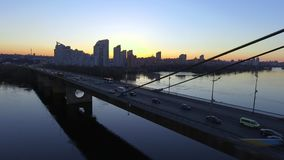 Aerial view of Moscow Bridge over Dnieper river. Kyiv, Ukraine. stock video