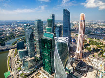 Aerial view of Moscow-City Royalty Free Stock Images