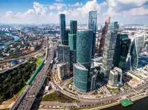 Aerial view of Moscow-City. MOSCOW - AUGUST 21, 2016: Aerial view of Moscow-City (Moscow International Business Center) over Moskva River. Moscow-City is a stock photography