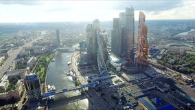 Aerial view of Moscow-City stock video