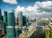 Aerial view of Moscow-City Stock Images